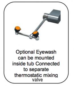Scrub Sink Eyewash with separate mixing valve meets ANSI standards