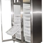 Stainless Steel Mobile Modular Surgical Storage Cabinet with baskets, trays, bins and catheter slides and casters