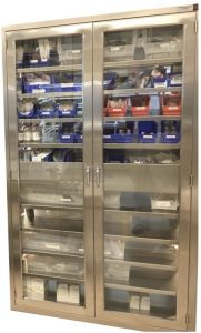 lead lined hospital pass through cabinet with interlocking doors