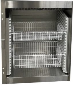 warming cabinet baskets- pull out wire basket storage for hospital blanket and solution warming cabinet