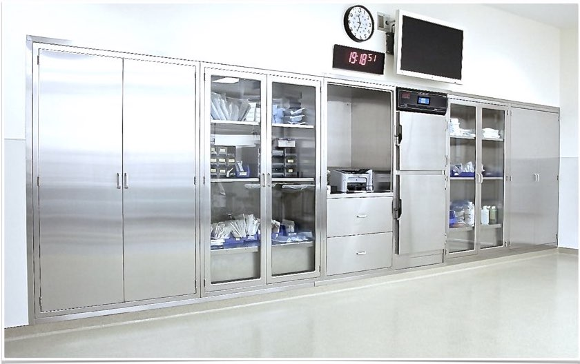 CNP Stainless Steel Operating Room Console with Glass and Solid door Surgical Supply Cabinets , Double chamber Blanket Solution Warmer and nurse documentation desk