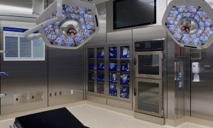 OPerating Room Console with two chamber Warming Cabinet and two stainless steel surgical supply cabinets